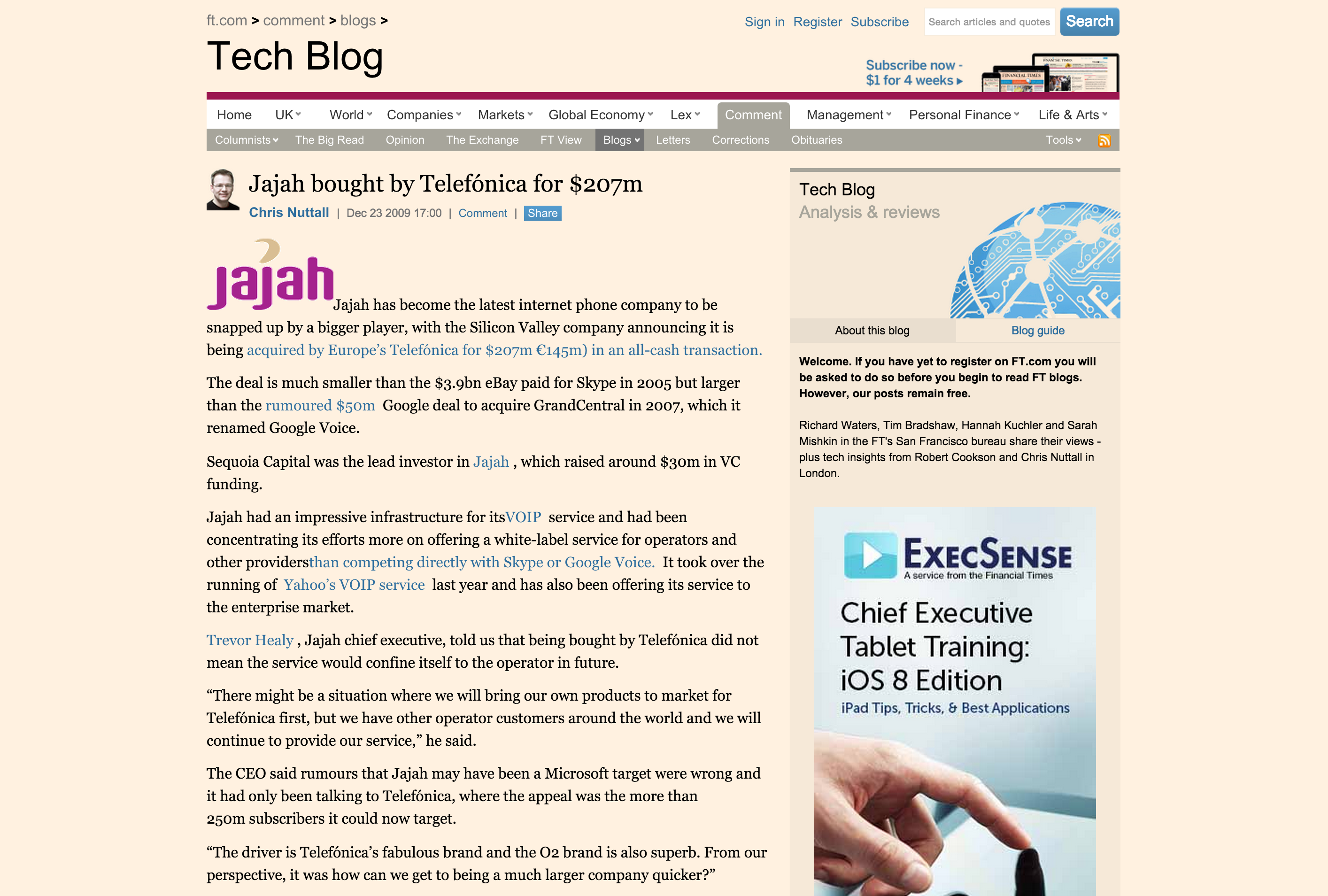 Jajah bought by Telefónica for $207m