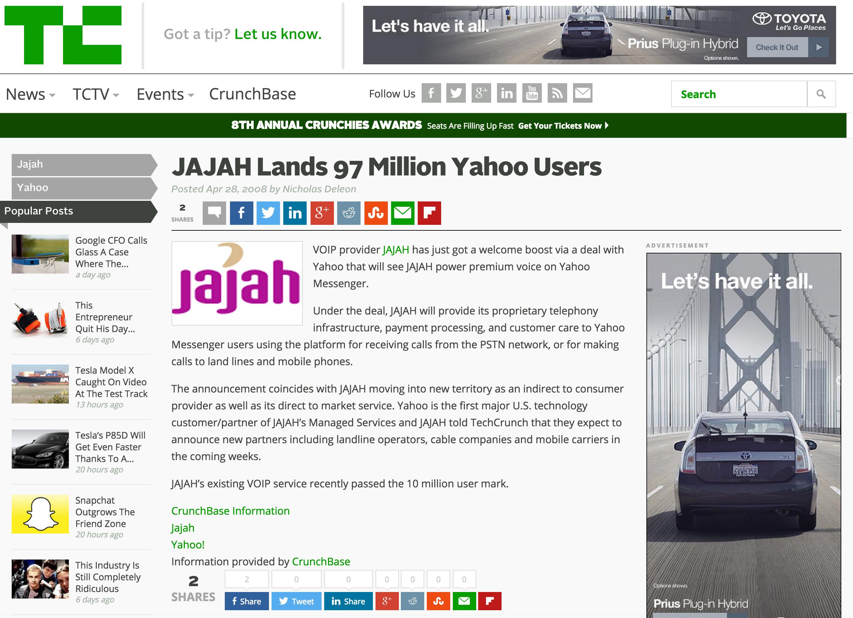 JAJAH Lands 97 Million Yahoo Users